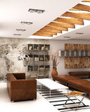 Living. A modern interior  living rendering Stock Images