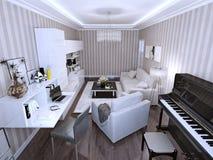 Living modern style. 3d render Stock Images