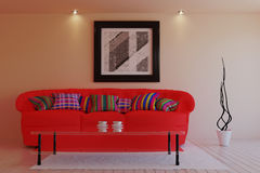 Living in a modern style with red sofa. 3d illustration Stock Photography