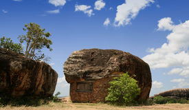 Living in Nature. A stone room at the edge of a cliff situated at Sithulpahuwa Sri Lanka. This stone built hut is a part of a Buddhist monestry which was 2000 Stock Images
