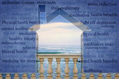 Living near the coast has a positive effect on one's health - Little house outline against a calm sea with clouds on background. Concept image with royalty free illustration