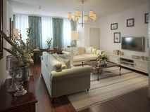 Living neoclassical style. Living in a neoclassical style. 3d model Stock Image