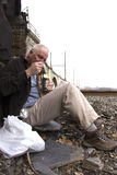 Homeless Man Living Off the Grid Royalty Free Stock Photography
