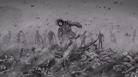Living person rises from a pile of corpses and rises in an environment of zombies. stock video
