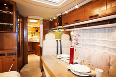 Living Quarters in Luxury Motorhome. A Living Quarters in Luxury Motorhome Royalty Free Stock Images