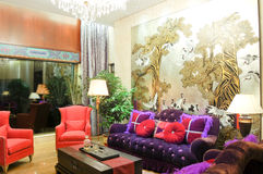Living room. Modern chinese style,with lamp,sofa,table Stock Photography