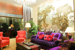 Living room. Interior of living room in chinese style Royalty Free Stock Images