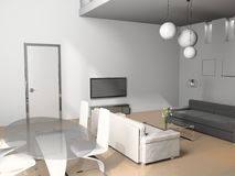 Living room. Modern interior of living room 3D royalty free stock image