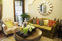 Living room. Contemporary luxury home living room with stylish decor Royalty Free Stock Photos