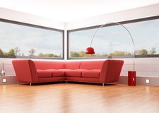 Living room. Modern living room with red velvet sofa and big windows - rendering - the image on back ground is a my photo Royalty Free Stock Photography