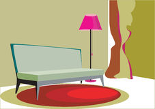 Living room. It's a colored illustration of a modern living room Royalty Free Stock Photos