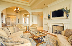 Living Room. Beautiful Living Room in Luxury Home stock photos