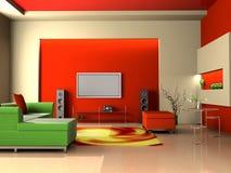 Living room. Modern interior of living room 3D Stock Photo