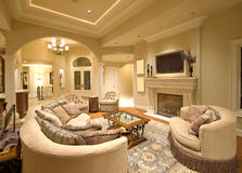 Living Room. Beautiful Living Room in Luxury Home Stock Photography
