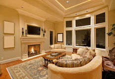 Living Room. Beautiful Living Room in Luxury Home royalty free stock image