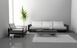 Living room. Modern interior of living room 3D Royalty Free Stock Photos