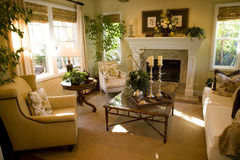 Living room 1821. Living room with fireplace and stylish decor Royalty Free Stock Photo