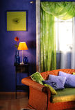 Living room. Detail of a colorful decorated living room Stock Photos