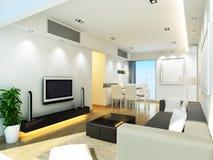 Living room. Modern living room design in 3D rendering stock illustration