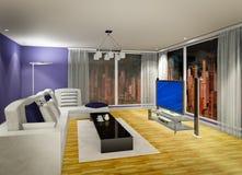 Living room. 3D illustration of modern living room at evening Stock Photos