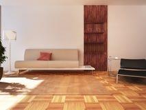 Living room. Modern living room design in 3D rendering Royalty Free Stock Images