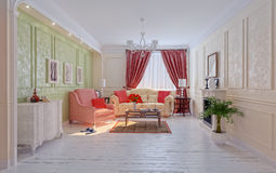 Living-room. Modern interior (3D rendering Stock Images