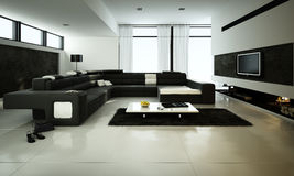 Living Room. Minimalist Living Room Design with black leather sofa 3D Rendering stock illustration