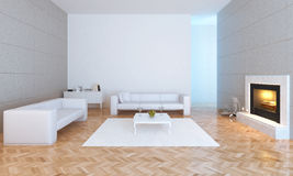 Living room. Modern urban interior with fire place Stock Photo