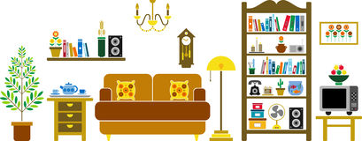 Living room. Vectorized living room with all its elements Stock Images