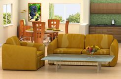 Living room. Modern living room with a kitchen and dining room on background Royalty Free Stock Photo