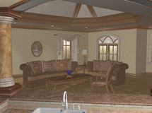 The Living Room. Living room as seen from the kitchen bar.  Computer Generated Image, 3D models Stock Image
