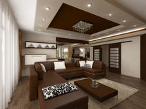 Living room. Modern interior living room visualisation render stock illustration