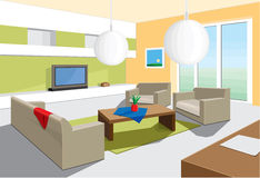 Living room. Architecture And Buildings and Living Room Royalty Free Stock Photos