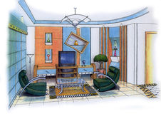 Living Room. An artist's simple sketch of an interior design of a living room (design & sketch by submitter Vector Illustration