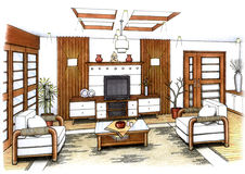 Living Room. An artist's simple sketch of an interior design of a living room (design and sketch by submitter Stock Photography