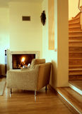Living room. With the fireplace Royalty Free Stock Photography