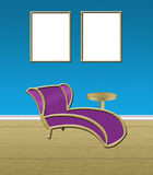 Living Room. Room with pictures and a chaise lounge Royalty Free Stock Image