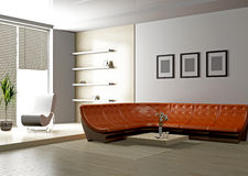 Living room 3D Royalty Free Stock Image