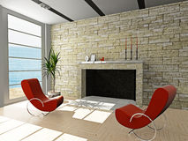 Living Room 3D Royalty Free Stock Photo