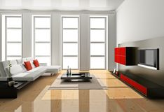 Living room 3D Stock Photography