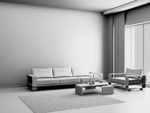 Living Room 3D Royalty Free Stock Photography