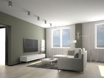 Living room 3D Royalty Free Stock Images