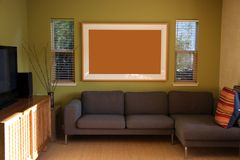 Living room. Modern living room with big art, space to fill, over sofa Royalty Free Stock Images