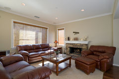 Living Room. Well Appointed Showcase Living Room with Interior Decoration stock photo