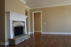 Living Room. Hardwood floor in a house with fireplace Stock Photography