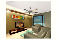 Living Room. A perspective illustration of a living room Royalty Free Stock Photography
