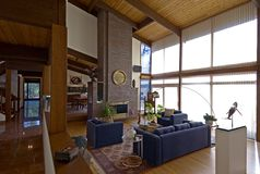 Living room. Modern living room in contemporary post and beam home royalty free stock images