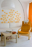 Living room. With orange armchair Royalty Free Stock Photos