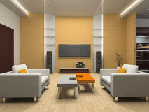 Living room. Modern interior of living room 3D royalty free stock images