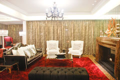 Living room. And luxury chairs and sofa,lamp Stock Photo
